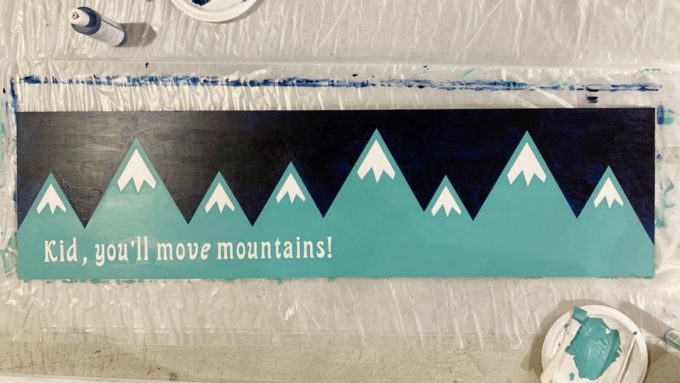 DIY Mountain Sign with Vinyl Removed