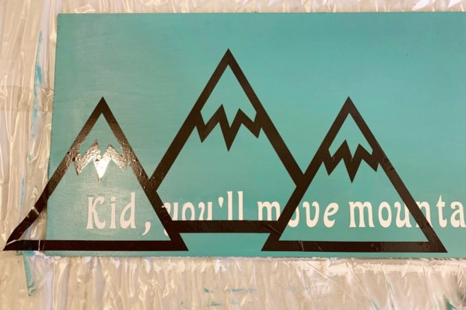 Vinyl Mountains on Handmade Wood Sign