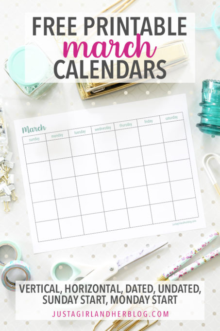 Free Printable March Calendars