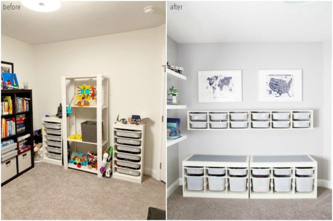 Organized LEGO Station Before and After
