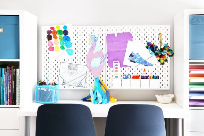 IKEA SKADIS Pegboards in an Organized Tween Hangout Room