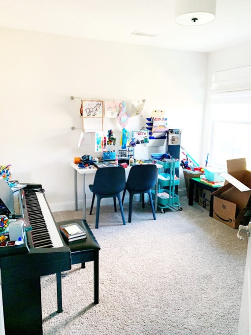 Cluttered Playroom Before Photo