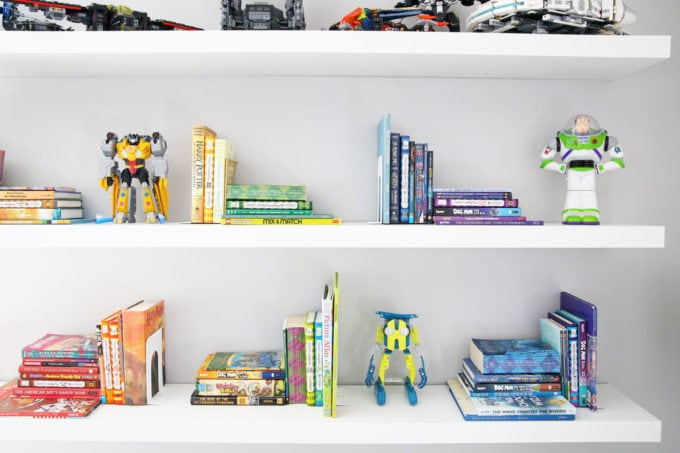 Books Organized by Color on IKEA LACK Floating Shelves