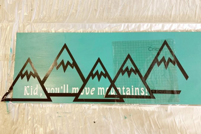 Two Sets of Mountains and Transfer Tape on Sign
