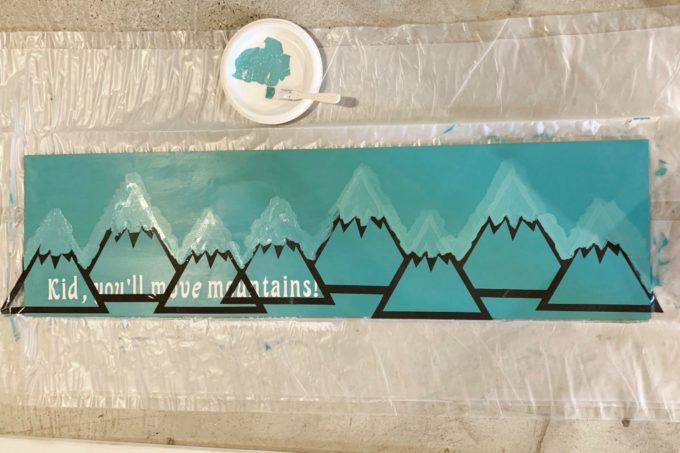 Mountain Wood Sign with Teal Paint