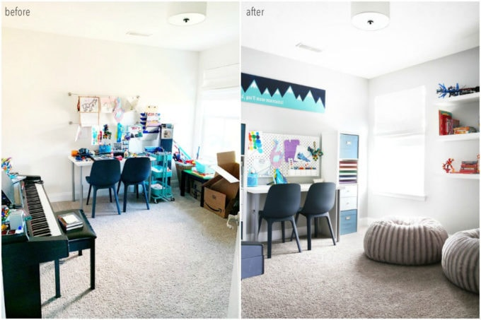 Organized Tween Hangout Room Before and After