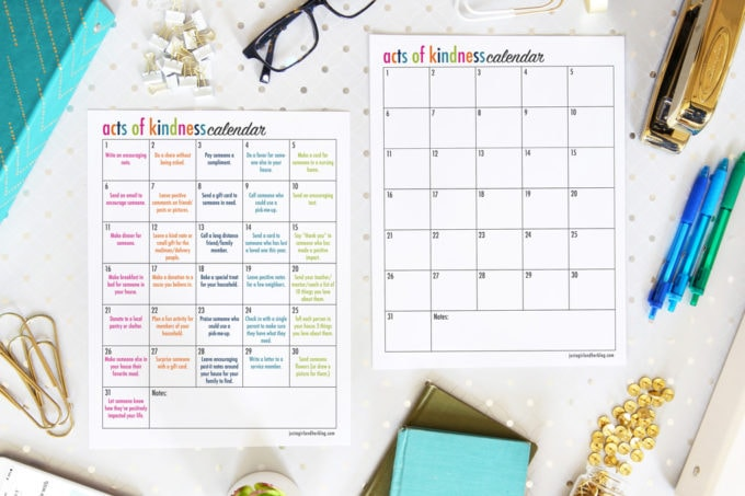 Printable Acts of Kindness Calendars