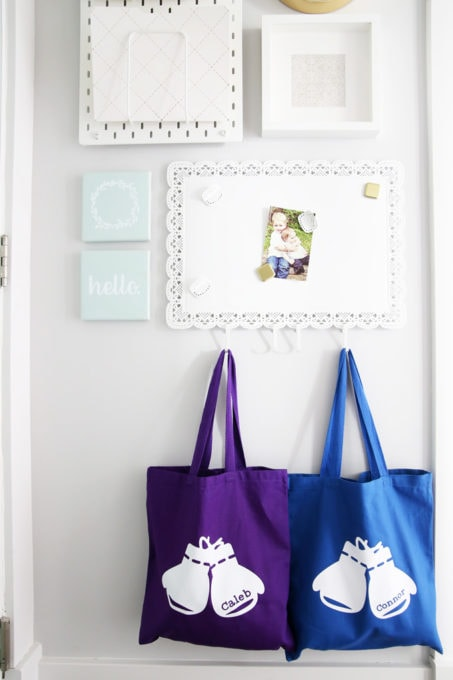 Custom Canvas Tote Bags Hanging in Entry