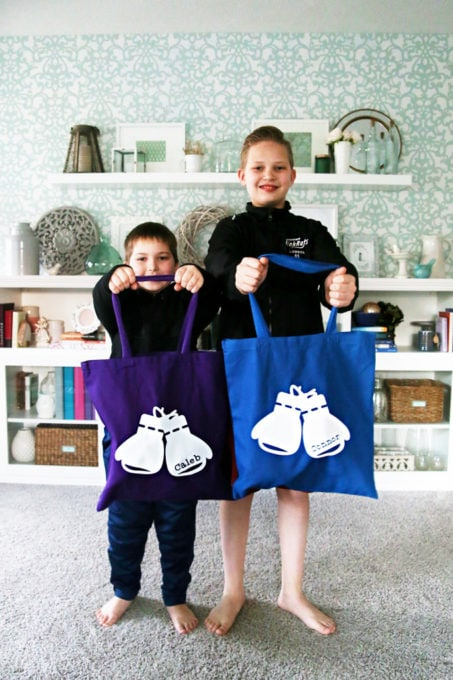 Two Young Boys Holding Custom Canvas Tote Bags