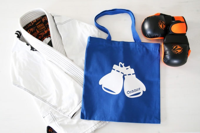Blue Custom Canvas Tote Bag with Boxing Gloves