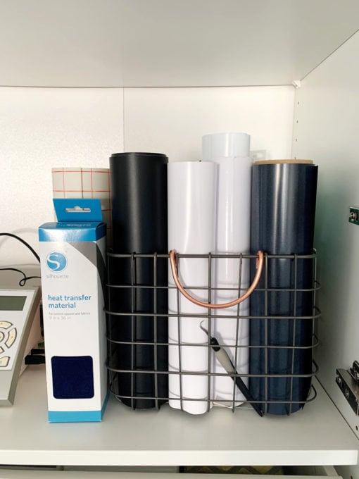 Vinyl roll storage in wire bin