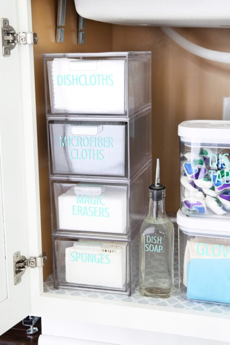 Acrylic Stacked Drawers with Vinyl Labels
