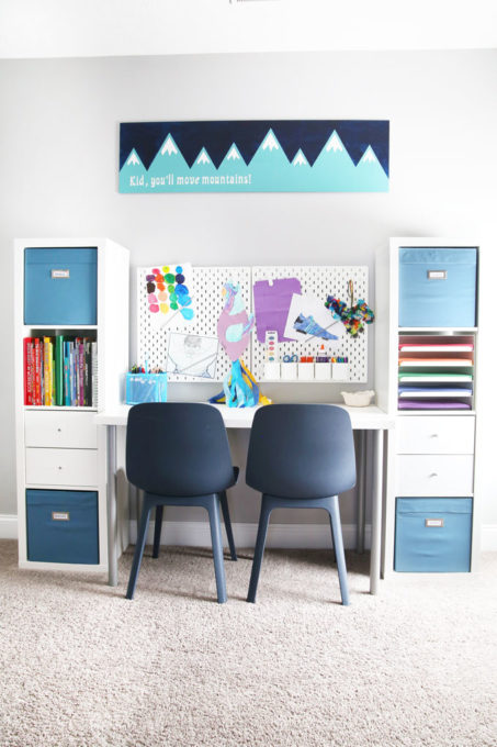 Organized Art Station in a Playroom