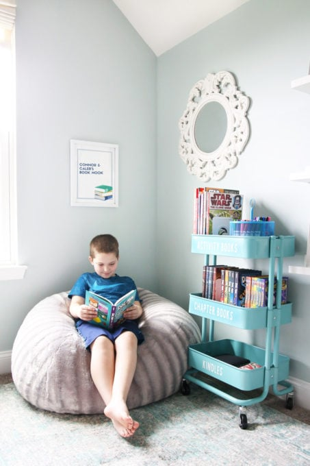 IKEA RASKOG Utility Cart used in a kids' reading nook