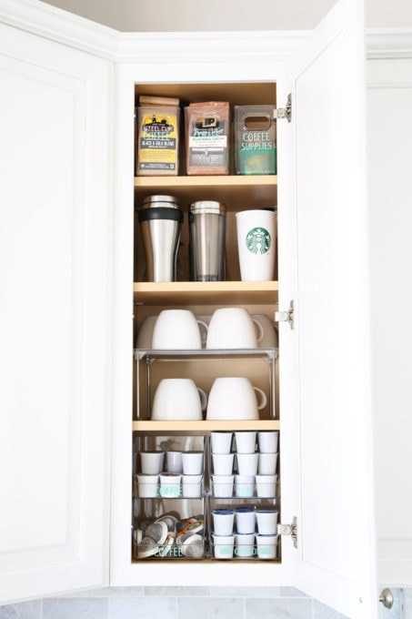Organized Coffee Cabinet