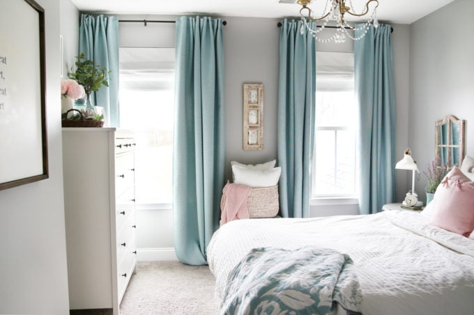 Bedroom with Aqua Curtains