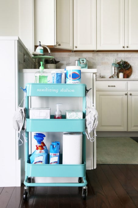 IKEA Kitchen Cart Used as a Sanitizing Station