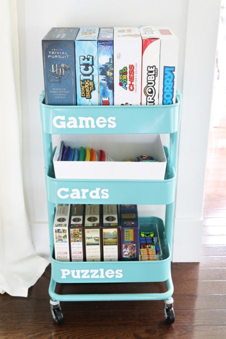 RASKOG Utility Cart from IKEA Used to Organized Games, Cards, and Puzzles