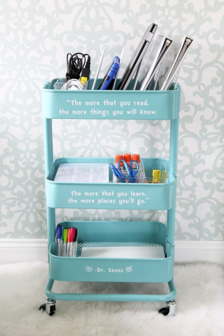 IKEA RASKOG Cart with Homeschool Supplies