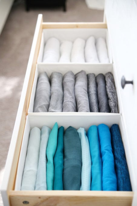 Drawer with File Fold Clothing, KonMari Method