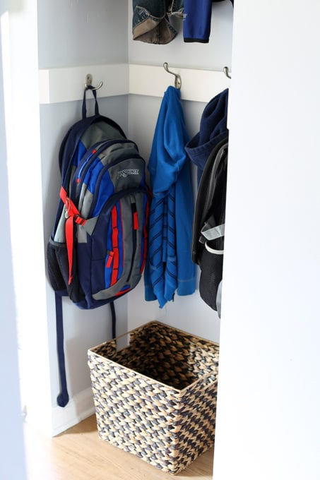Mini Mudroom for Organizing Coats and Bookbags