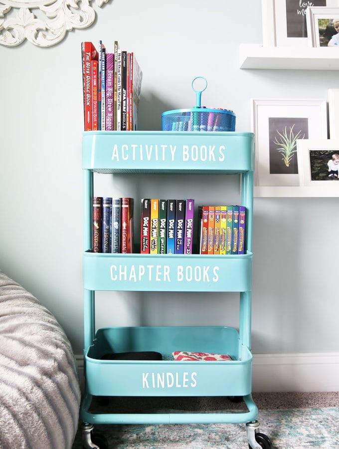 IKEA rolling cart organizing books