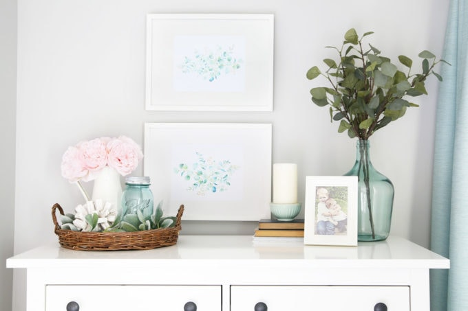 Styled IKEA HEMNES Dresser with Photo Frames