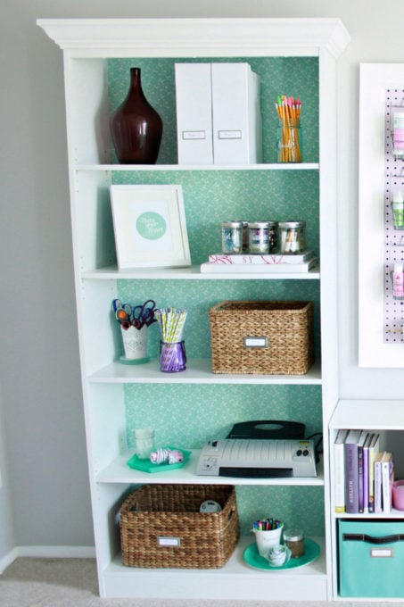 Bookshelf with Office Items