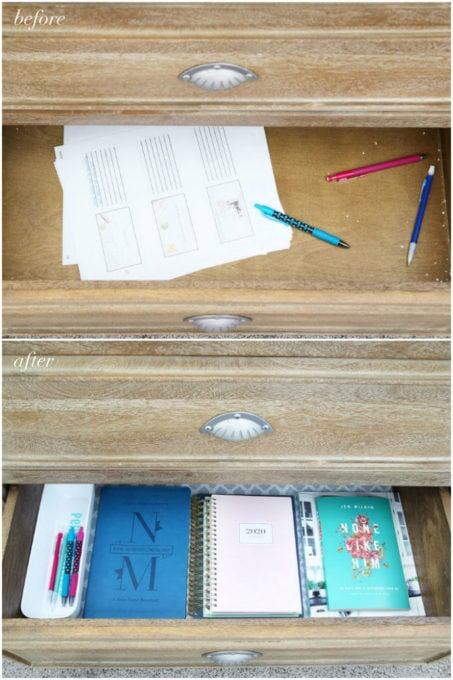 Bottom Drawer of Organized Nightstand, Before and After