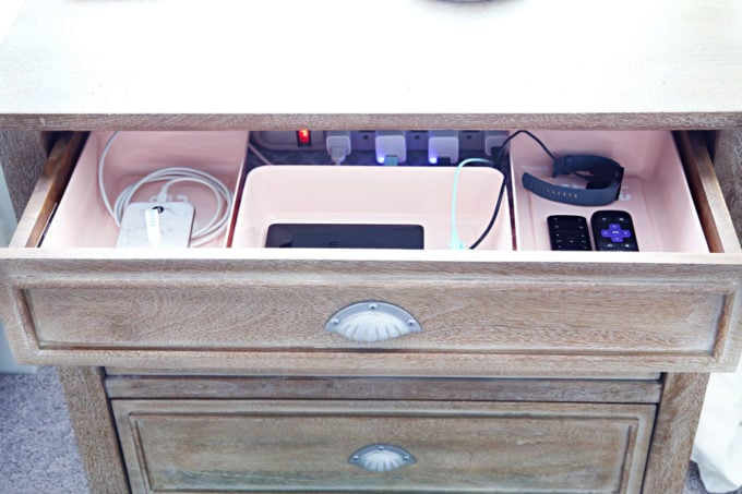 Nightstand Charging Station with Power Strip