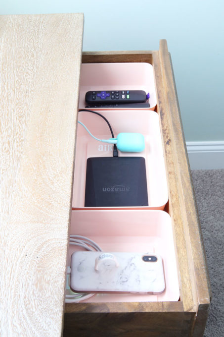 DIY Charging Station in Nightstand Drawer