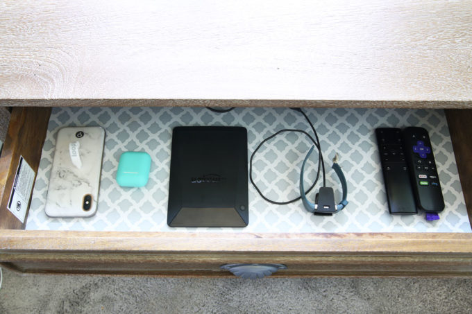 Electronic devices in nightstand drawer