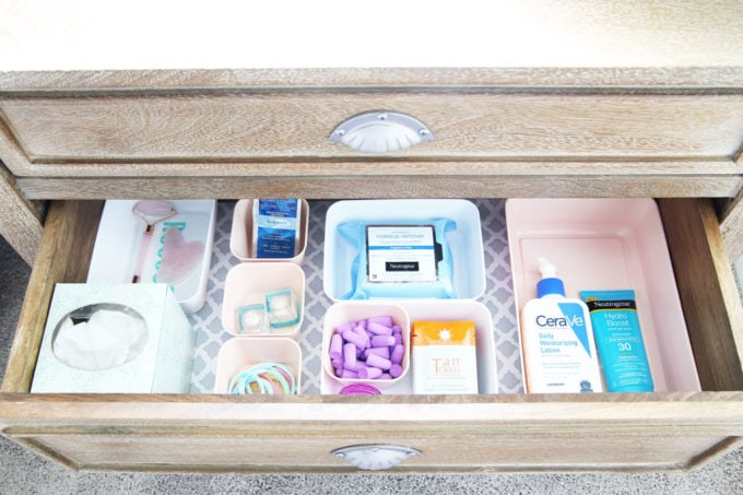 Organized Nightstand Drawer with Toiletries