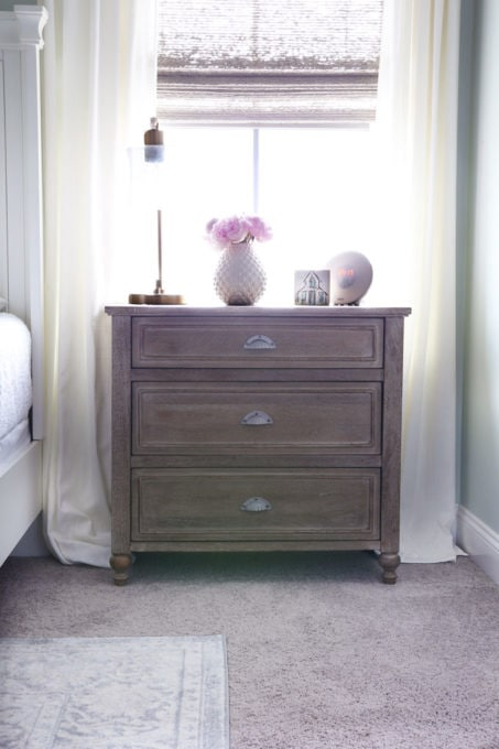 Three Drawer Nightstand in an Organized Master Bedroom