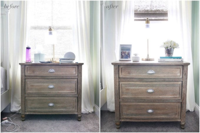 Organized Nightstand Before and After