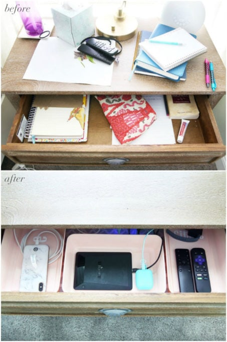 Top Drawer of Organized Nightstand, Before and After