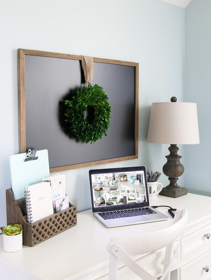 Computer with Organized Photos on Desk in Home Office