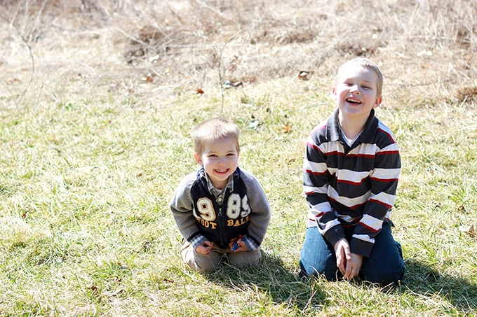 Brothers Laughing in a Field