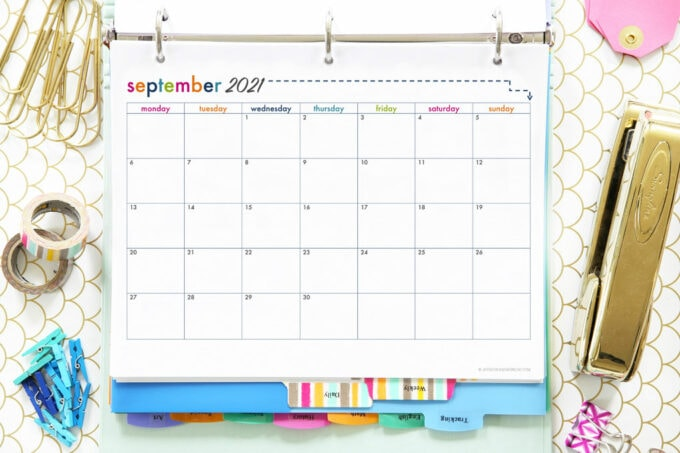 September 2021 calendar page as part of a free printable student binder