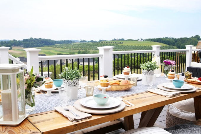 Tablescape on a Backyard Deck with Beautiful View