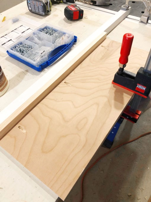 Shelf Clamped to Work Bench