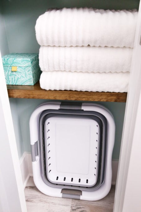 Collapsible Laundry Baskets in a Small Linen Closet