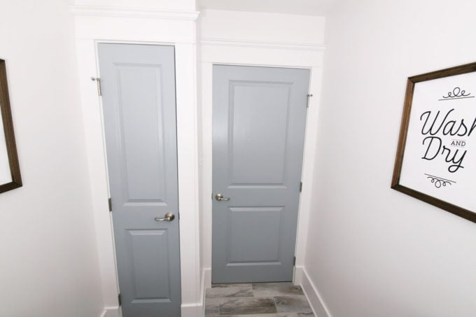 Doors to Linen Closet and Hallway in Small Laundry Room