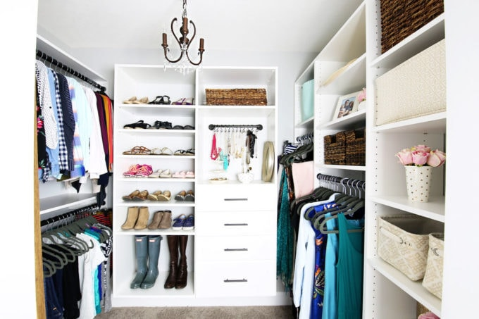 Main Closet Organized with Custom Closet System