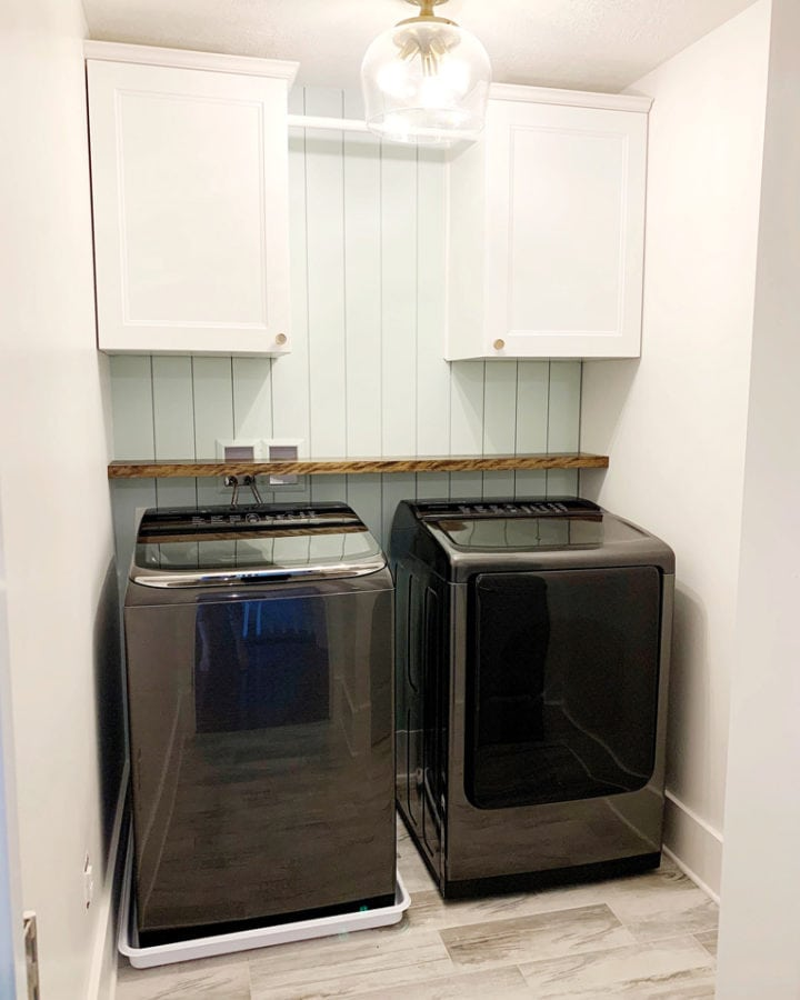 Shelf Above Washer and Dryer in Laundry Room