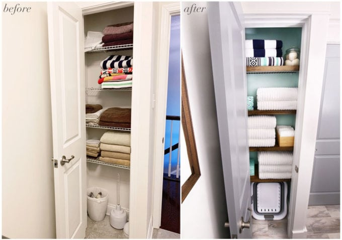 Organized Small Linen Closet Before and After