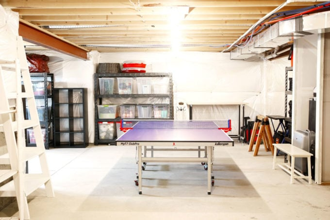 Organized Basement with Ping Pong Table