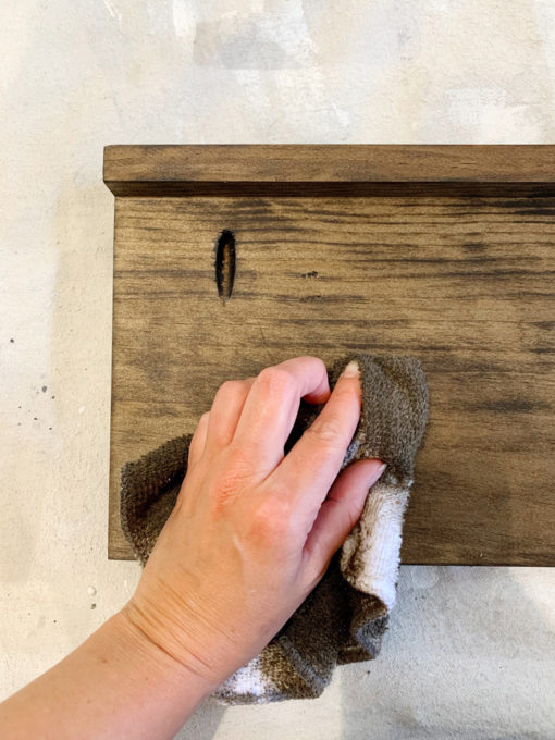 Staining Shelf with a Rag