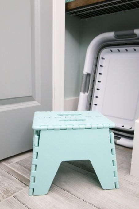 Collapsible Stool in a Small Linen Closet