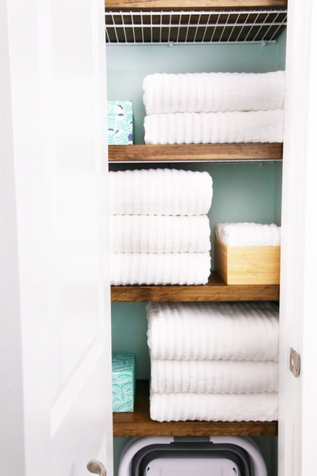 Folded Towels in Organized Linen Closet